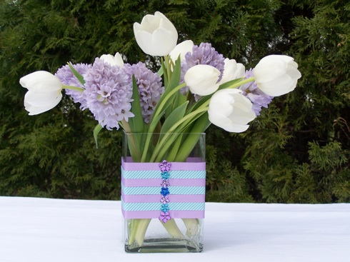 Porterhousedesigns.com colorsizzle hyacinth cneterpiece